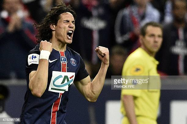 Paris SaintGermain's Uruguyan forward Edinson Cavani celebrates after scoring a goal during the French Cup final football match between Paris...