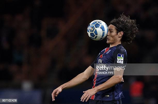 TOPSHOT Paris SaintGermain's Uruguyan forward Edinson Cavani controls the ball during the French League Cup football match between Paris SaintGermain...