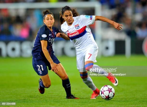 Paris SaintGermain's Veronica Boquette vies for possession with Olympique Lyonnais' Amel Majri during the UEFA Women's Champions League Final match...
