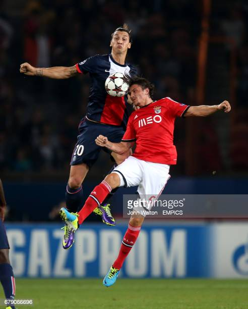 Paris SaintGermain's Zlatan Ibrahimovic and Benfica's Ljubomir Fejsa battles for possession of the ball