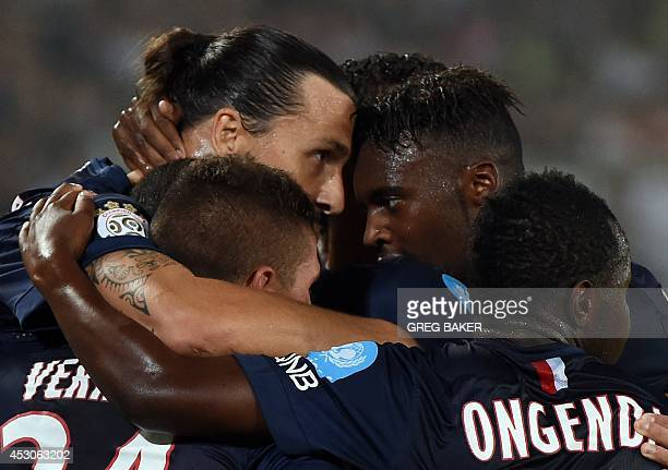 Paris SaintGermain's Zlatan Ibrahimovic celebrates his first goal against Guingamp during the French seasonopening Champions Trophy football match in...