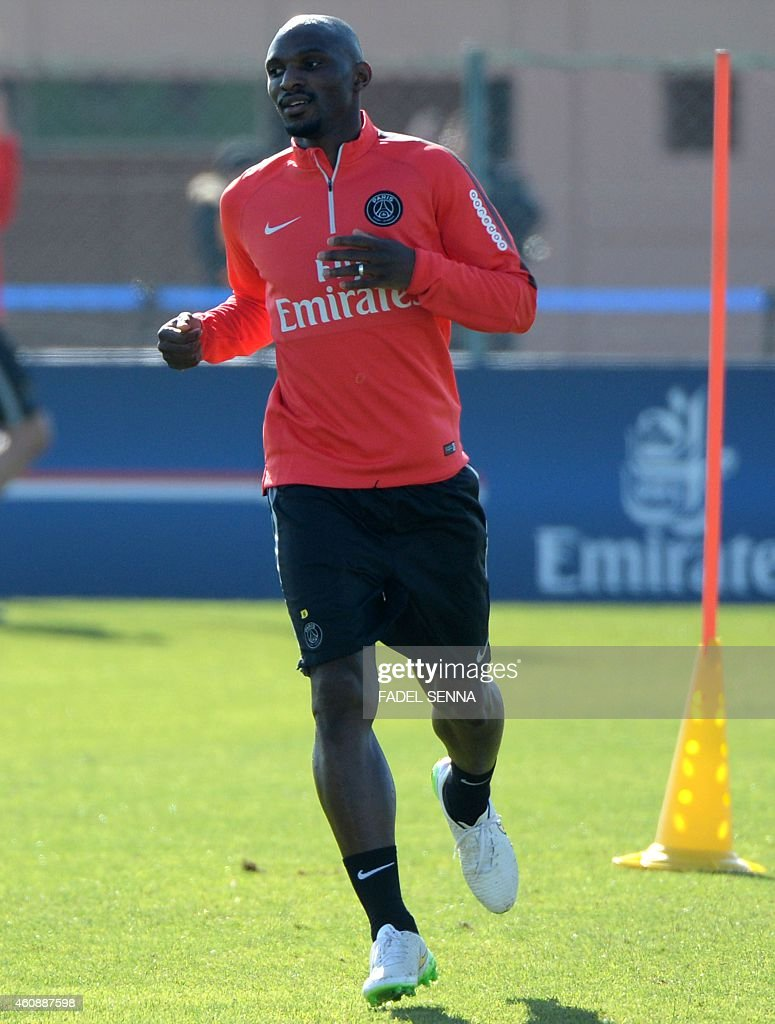 Paris Saint-Germain's <a gi-track='captionPersonalityLinkClicked' href=/galleries/search?phrase=Zoumana+Camara&family=editorial&specificpeople=729000 ng-click='$event.stopPropagation()'>Zoumana Camara</a> takes part in a training session on December 29, 2014, in the Moroccan city of Marrakesh on the eve of the friendly football match PSG against Inter Milan, as part of the Qatar Winter Tour.