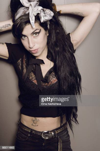 singer Amy Winehouse poses at a portrait session for Jalouse in Paris on January 25 2008