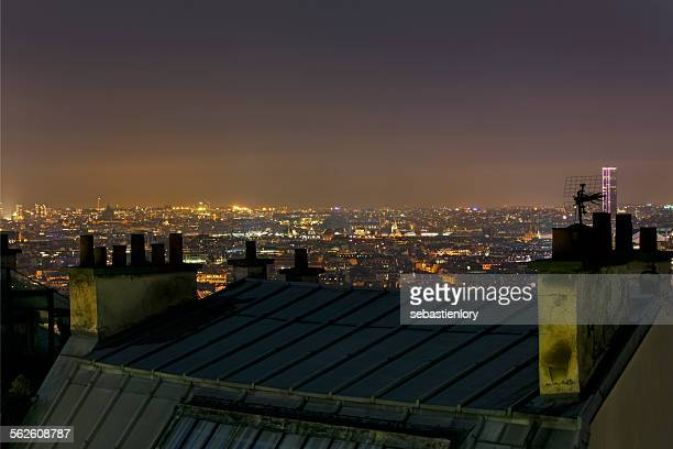 Paris skyline at night, France