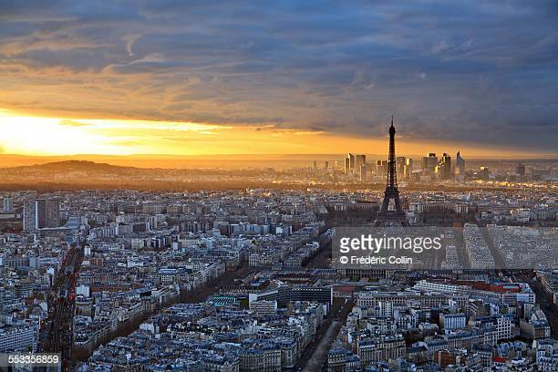 Paris skyline with a dramatic sunset