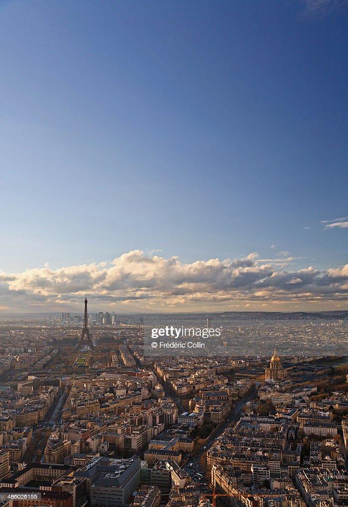 Paris skyline with clouds : Stock Photo