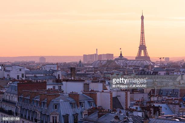 Paris skyline with Eiffel tower aerial view at sunset
