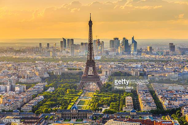 Paris skyline with Eiffel Tower seen from Tour Montparnasse 56 at sunset
