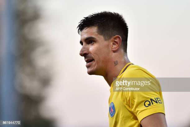 Paris' Spanish defender Yuri Berchiche looks on during the French L1 football match between Dijon and Paris on October 14 at the GastonGerard stadium...