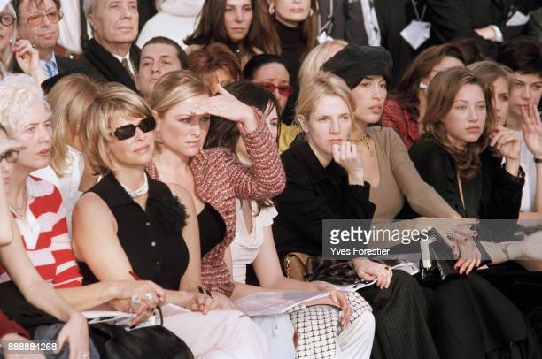 Paris SpringSummer 2002 Fashion show Chanel Collection From left to right Kate Capshaw with her daughter Elsa Zylberstein Sandrine Kiberlain Dolores...