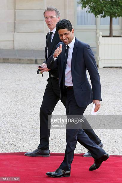 Paris St Germain Coach Laurent Blanc and Paris St Germain President Nasser AlKhelaifi attend the State Dinner In Honor Of Sheikh Tamim Bin Hamad...