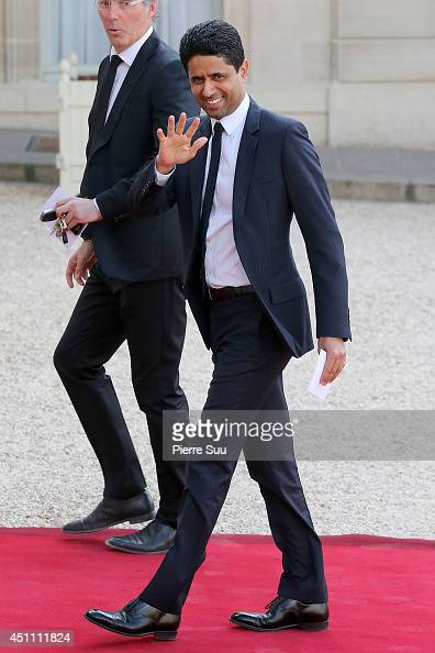 Paris St Germain Coach Laurent Blanc and Paris St Germain President Nasser AlKhelaifi attend the State Dinner In Honor Of Sheikh Tamim Bin Hamad...