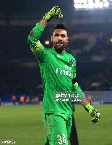 Paris St Germain goalkeeper Salvatore Sirigu celebrates victory after the match