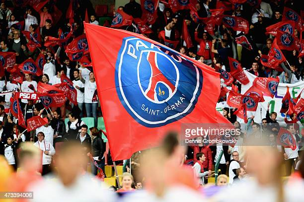 Paris St Germain supporters wave a flag during the UEFA Women's Champions League Final between 1 FFC Frankfurt and Paris St Germain at...