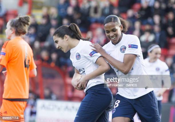 Paris St Germain's Anissa Lahmari celebrates scoring her side's first goal of the game with teammate MarieLaure Delie
