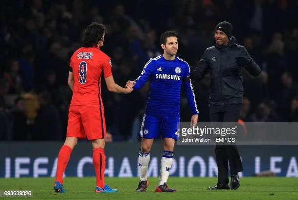Paris St Germain's Edison Cavani shakes hands with Chelsea's Cesc Fabregas after the match