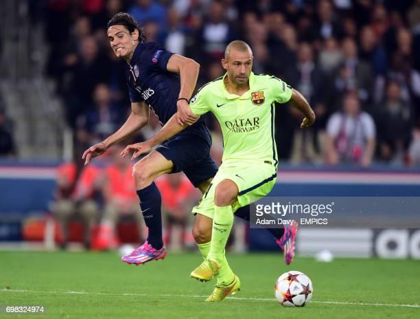 Paris StGermain's Edinson Cavani and Barcelona's Javier Mascherano battle for the ball
