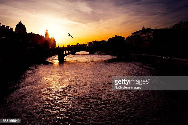 Paris sunset over Seine river