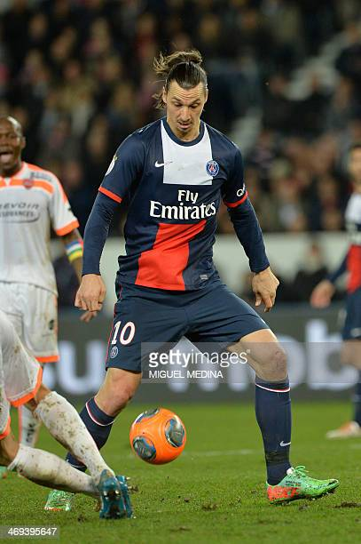 Paris' Swedish forward Zlatan Ibrahimovic controls the ball during the French L1 football match between Paris SaintGermain and Valenciennes on...