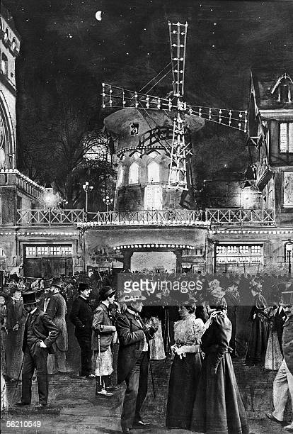 Paris the night The exit of the Moulin Rouge about 1900