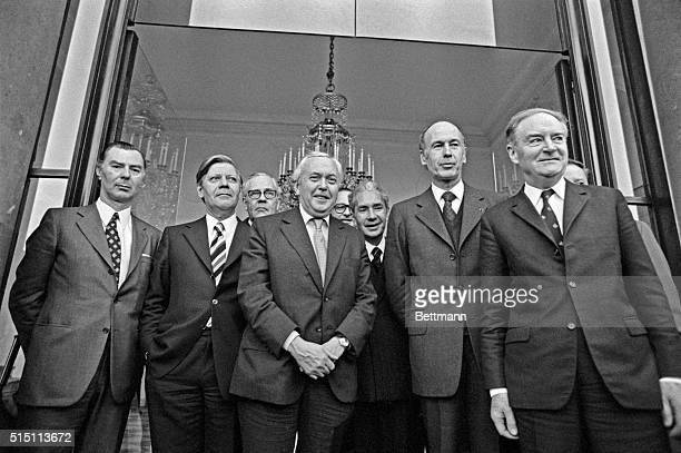 The 'picture of the Family' on the Elysee Palace step after lunch here Left to right Leo Tindemans Helmut Schmidt Paul Hartling Harold Wilson Jacques...