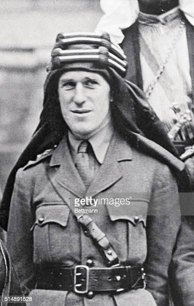 Thomas Edward Lawrence of Arabia British archaeologist soldier and writer photographed in Middle Eastern headdress during the Peace Conference of...