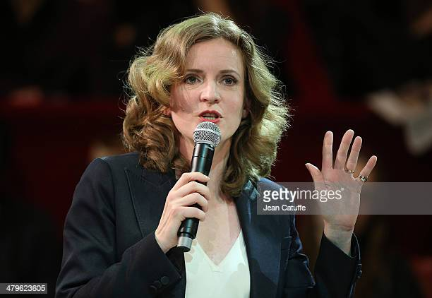 Paris UMP mayoral candidate Nathalie KosciuskoMorizet aka NKM holds her last big meeting before the elections at Cirque d'Hiver on March 19 2014 in...