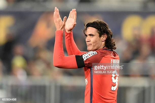 TOPSHOT Paris' Uruguayan forward Edinson Cavani reacts during the French League Cup football match between Bordeaux and Paris SaintGermain on January...