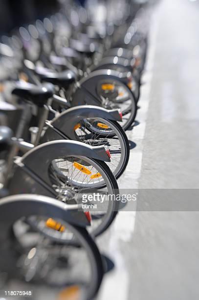 Paris Velib Bikes - City Hire Bicycles Parked In Row