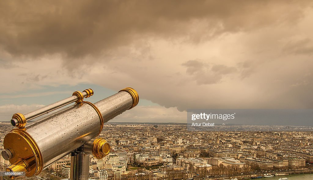 Paris view from Tour Eiffel with silver binoculars : Stock Photo