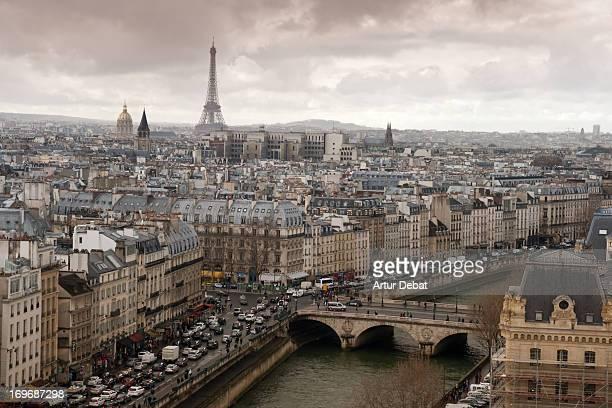 Paris view with Sena and Tour Eiffel.