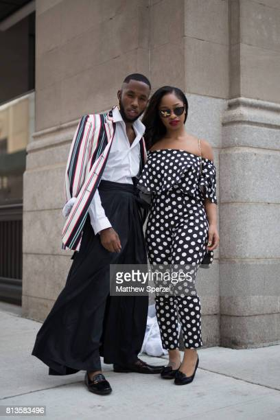 Paris Warren and Jacci Jackson are seen attending Matiere at Cadillac House during Men's New York Fashion Week wearing Danny Win Chuck Collins and...