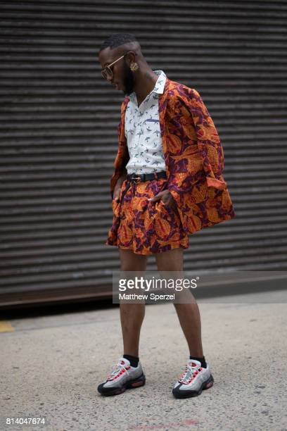 Paris Warren is seen attending General Idea Raun LaRose during Men's New York Fashion Week wearing vintage a outfit with Nike shoes on July 13 2017...