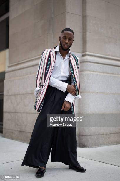 Paris Warren is seen attending Matiere at Cadillac House during Men's New York Fashion Week wearing Chuck Collins on July 12 2017 in New York City