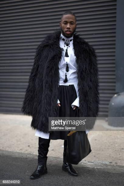Paris Warren is seen attending Nick Graham/Garciavelez/Dim Mak wearing Underwood New York Calvin Klein with a Coach bag on January 31 2017 in New...