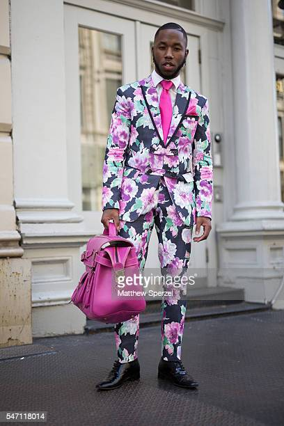 Paris Warren is seen attending the Suitsupply Presentation wearing Clavons Wear suit and bag and Danny Nguyen shoes during New York Fashion Week...