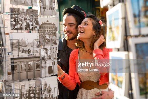 Paris, young couple visiting Montmartre