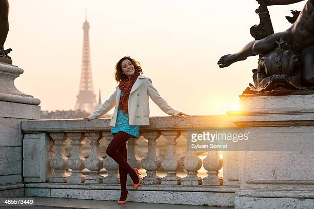 Paris, Young woman on Pont Alexandre III