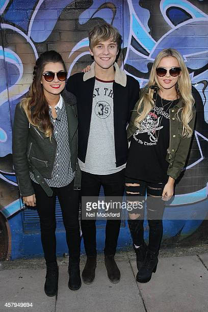 Parisa Tarjomani Mikey Bromley and BetsyBlue English from X Factor group 'Only The Young' seen at a recording studio on October 27 2014 in London...