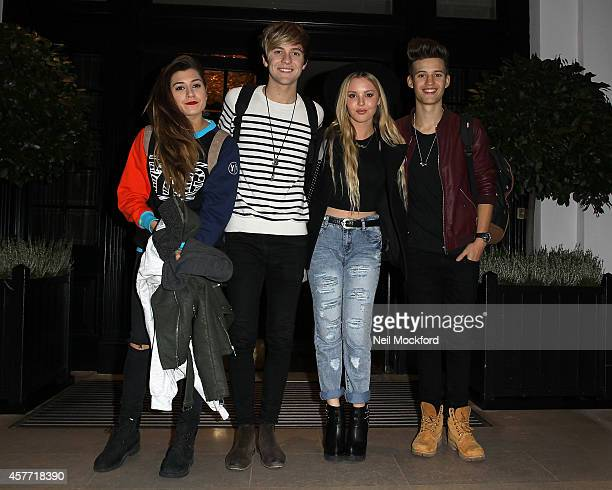 Parisa Tarjomani Mikey Bromley Charlie George and BetsyBlue English from XFactor group 'Only The Young' seen leaving The Kensington Hotel on October...