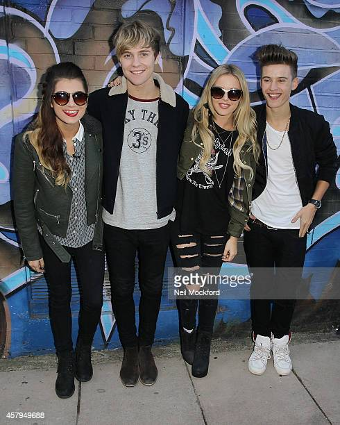 Parisa Tarjomani Mikey Bromley Charlie George and BetsyBlue English from X Factor group 'Only The Young' seen at a recording studio on October 27...