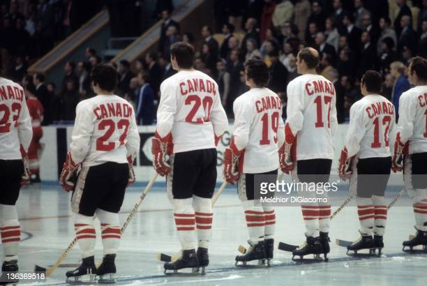 P Parise Pete Mahovlich Paul Henderson Bill White and Yvan Cournoyer of Canada stand on the ice during introductions before Game 5 of the 1972 Summit...