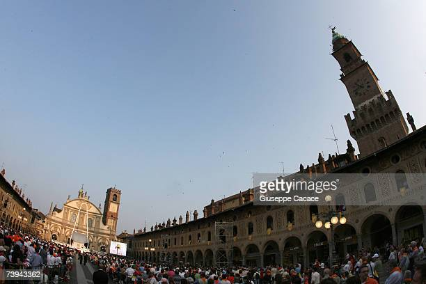 Parishioners gather to see Pope Benedict XVI preside over an openair mass in Piazza Ducale on April 21 2007 in Vigevano Italy The Pontiff is visiting...