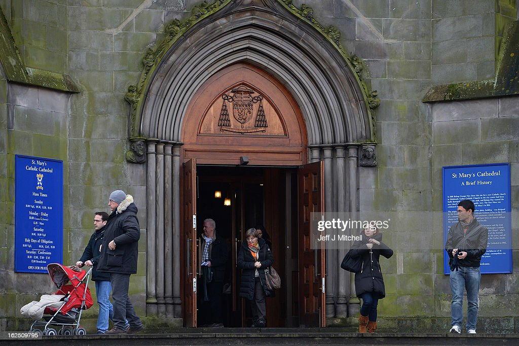 Parishioners leave St Andrews Cathedral in Edinburgh following mass on February 24, 2013 in Edinburgh, Scotland. Cardinal Keith Obrien, Britain's most senior Roman Catholic, missed taking Sunday Mass following accusations from three priests and one former priest of inappropriate behaviour.