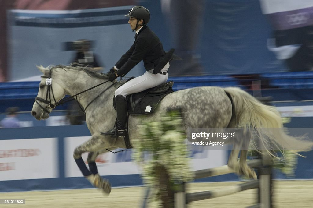 Parisi Giuseppe (Italy) during the men's relay World Championship in modern pentathlon in Moscow in Olympic Sports Complex in Moscow, Russia, on May 24, 2016.