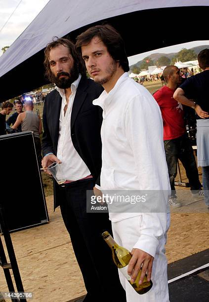 Parisian artist Sebastien Tellier and Simon Dalmais backstage at the Castle Stage at the Big Chill Festival Eastnor Castle Park Herefordshire...