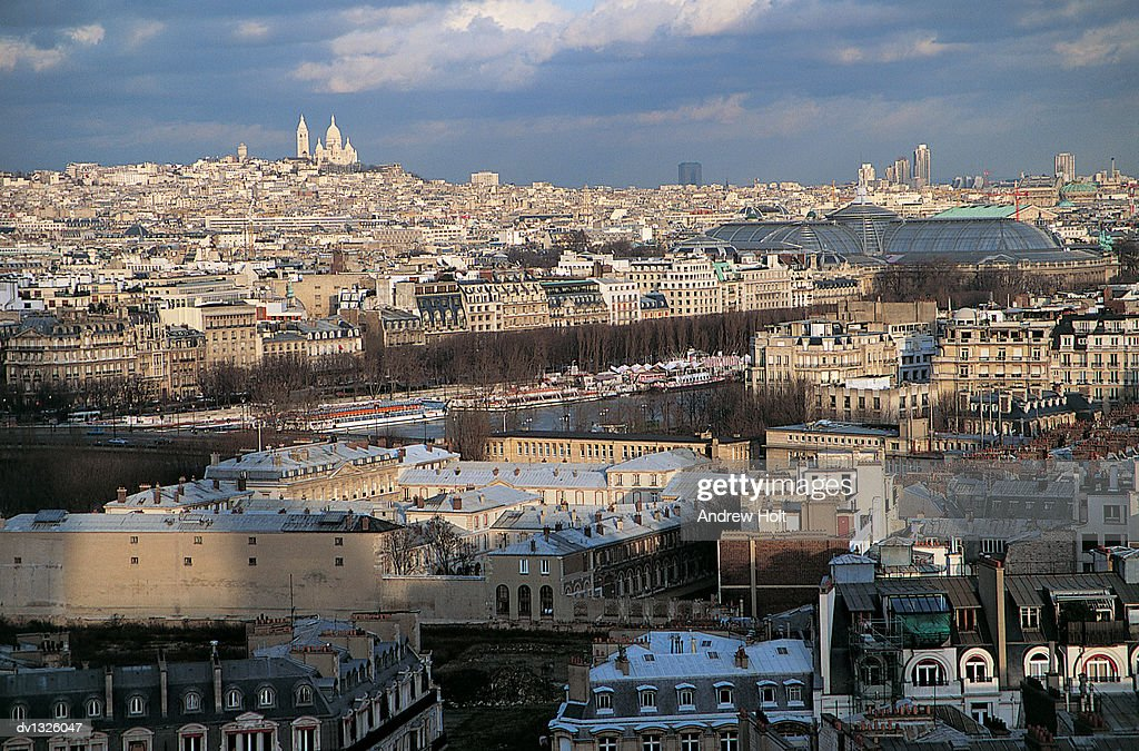 Parisian Cityscape With a Distant View of Sacre Coeur Basilica and the Gare du Nord