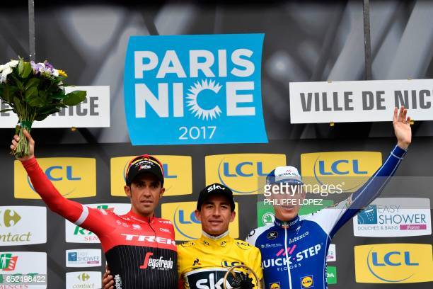 ParisNice 2017 winner Colombia's Sergio Henao secondplaced Spain's Alberto Contador and thirdplaced Ireland's Daniel Martin celebrate on the podium...