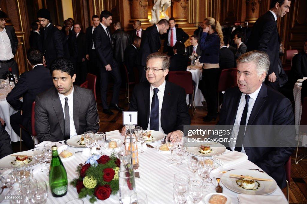 Paris-Saint-Germain's French L1 football club (PSG) chairman Nasser Al-Khelaifi (L) of Qatar, and Paris Saint-Germain's head coach Carlo Ancelotti (R) attend the annual lunch of the PSG team at the Paris city hall, on January 30, 2013.