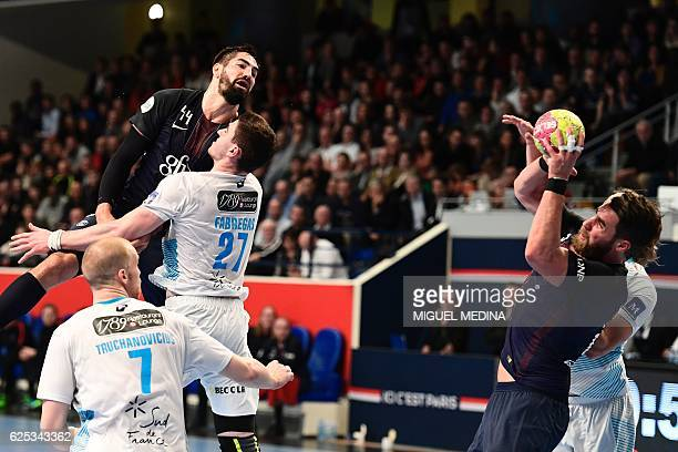 ParisSaintGermain's French left back Nikola Karabatic passes the ball to his teamplayer French line player Luka Karabatic during the 9th day of the...